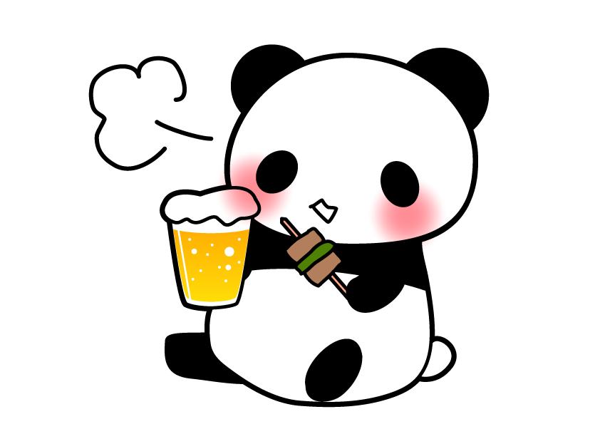 ビールを飲むパンダ